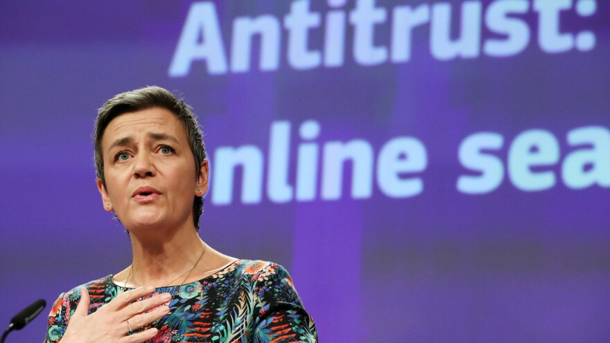 European Commissioner for Competition Margrethe Vestager says Google broke the law for roughly 10 years by restricting how business partners deal with rivals in search advertising.