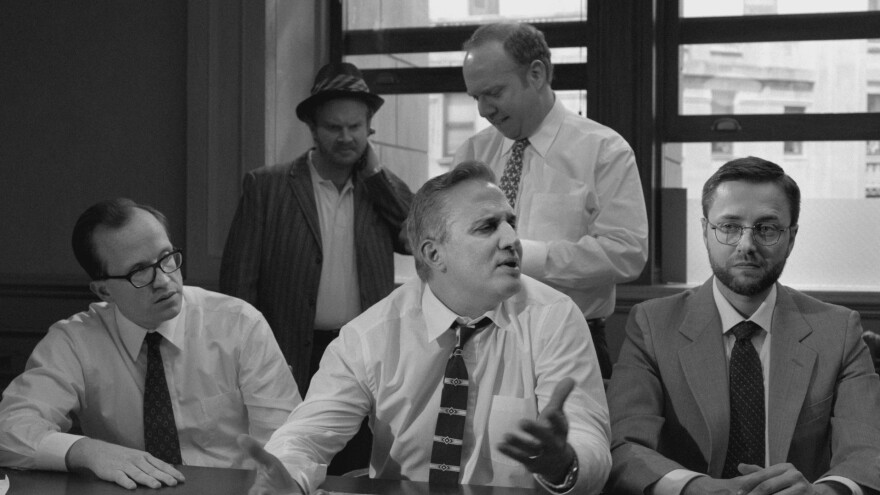 Schumer spoofs the 1957 film <em>Inside Angry Men</em> with a jury of men who deliberate over whether she is hot enough for television.<em> </em>Above, jurors (front, from left) Chris Gethard, Nick DiPaolo and Vincent Kartheiser and (back from left) Henry Zebrowski and Paul Giamatti.