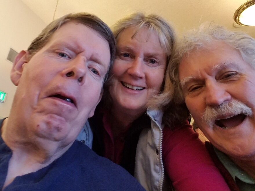 Ken Roberts (left), his stepsister, Debbie Roberts, and her husband, Steve Kinzie, at a Christmas gathering at North Valley Extended Care in Tonasket in 2018. Ken died of COVID-19 on Nov. 29 at age 66.