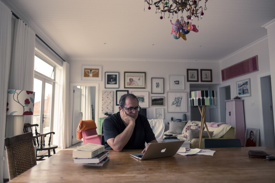 Writer Mark Gevisser in his home in Kalk Bay, Cape Town, on day 16 of South Africa's coronavirus lockdown. He has written on how the lockdown calls into sharp relief the inequalities in his country.
