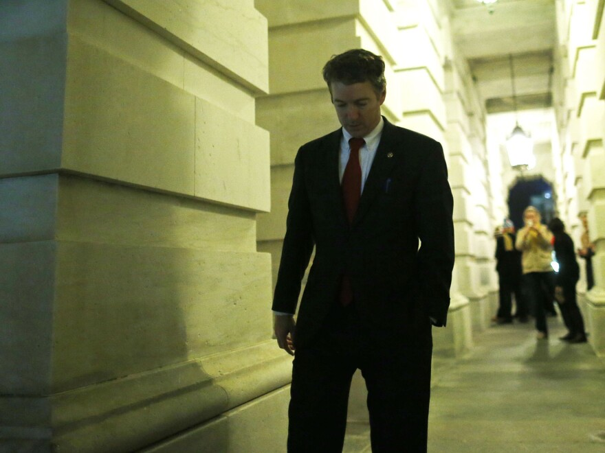 Sen. Rand Paul, R-Ky., walks out of the Capitol after his filibuster of the nomination of John Brennan to be CIA director on Capitol Hill early Thursday.