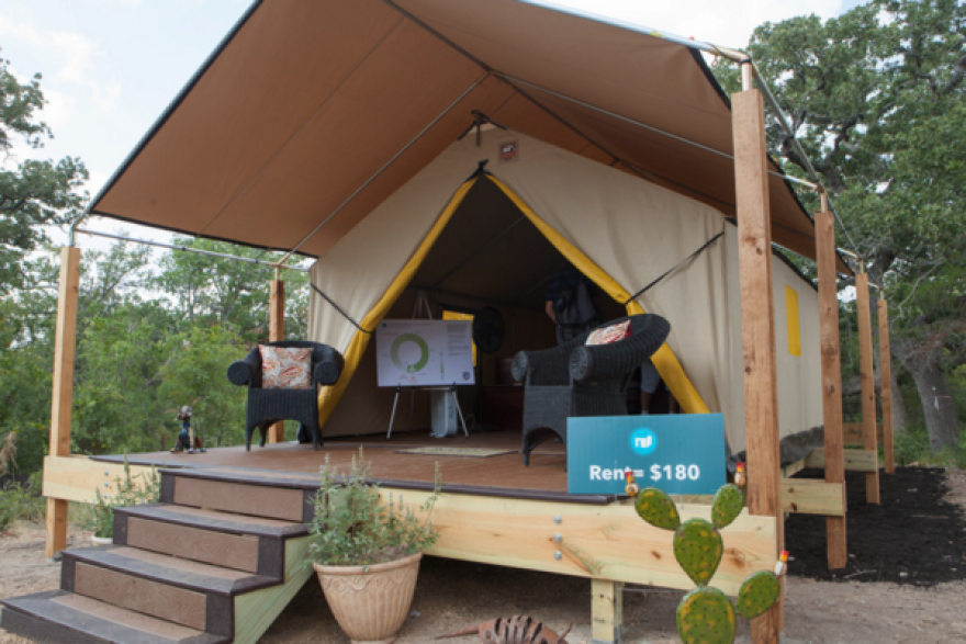 One of the tiny home options in the Austin village is a tent home.