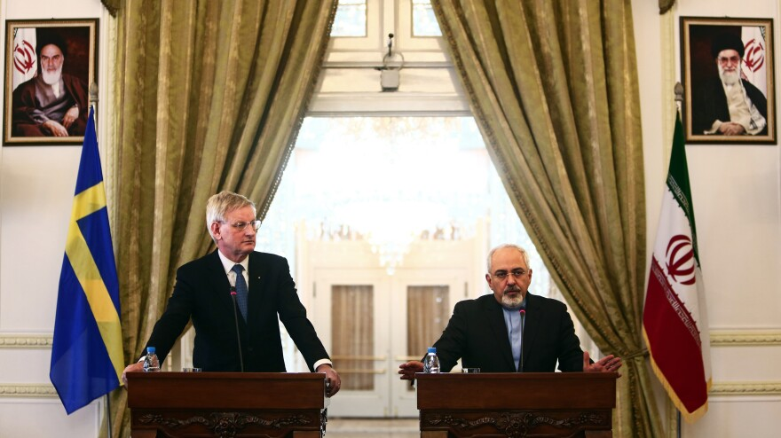 Iranian Foreign Minister Mohammad Javad Zarif (right) speaks during a joint press conference with his Swedish counterpart Carl Bildt in Tehran on Tuesday. Bildt is visiting to try to bolster the temporary nuclear deal on Iran's nuclear program.