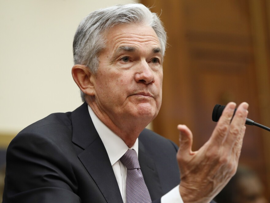 "Federal Reserve Chairman Jerome Powell testifies Tuesday before the House Financial Services Committee in Washington. ""My personal outlook for the economy has strengthened since December,"" he said."