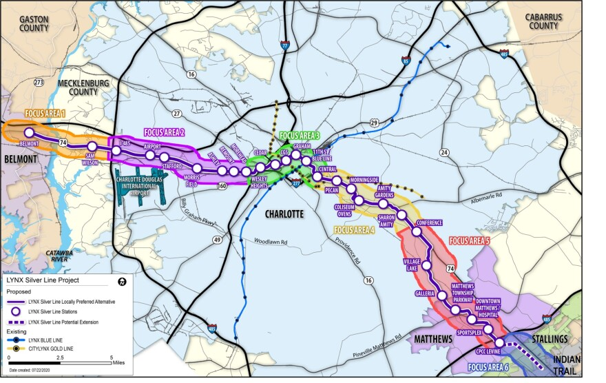Map shows the proposed route for the Lynx Silver Line light rail, from Belmont (left) to Matthews and Union County (lower right).