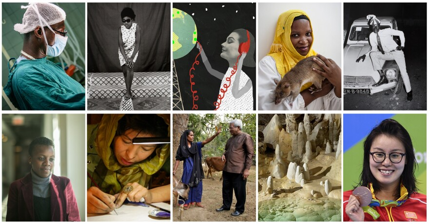 Clockwise from upper left: Dr. Forster Amponsah; a Malick Sidbe photo taken in Mali; a global garden of radio; Chewa the TB-sniffing rat; another Sidbe photo; Olympic medalist Fu Yuanhui of China; the New Mexico cave where a superhero bacterium lived; poverty fighter Sir Fazle Hasan Abed; calligrapher Sughra Hussainy; activist Loyce Maturu.