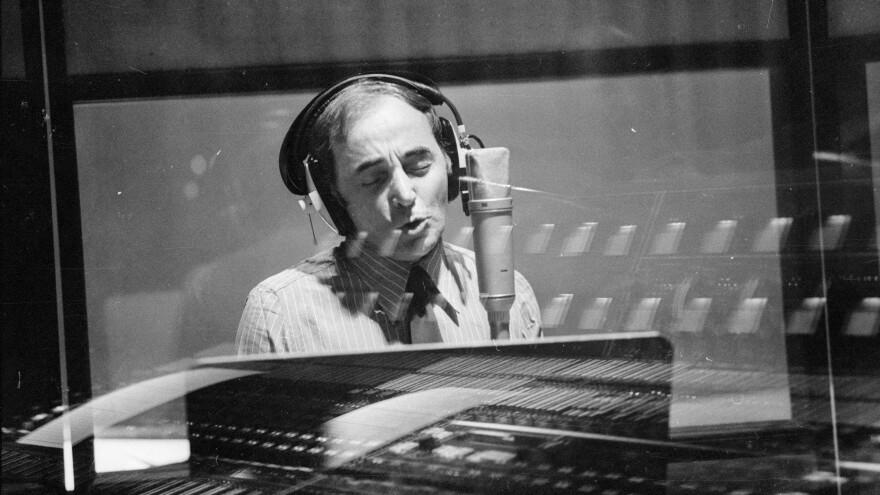 Charles Aznavour in the studio in 1974.