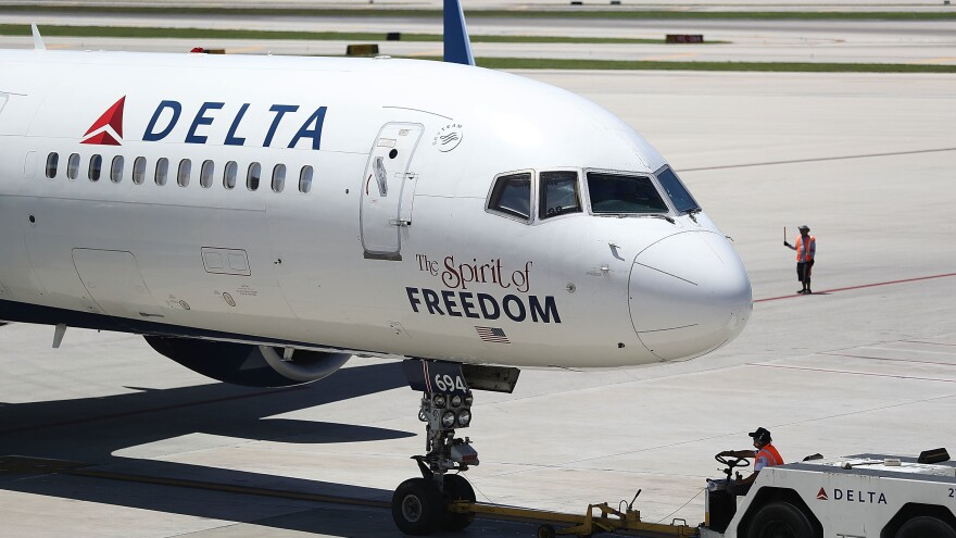 A Delta plane is seen on the tarmac in Fort Lauderdale, Fla., on July 14.