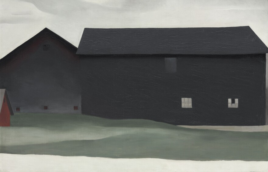 Georgia O'Keeffe's 1926 painting <em>The Barns, Lake George</em>, which has been privately owned and rarely displayed, now joins the collection of the Georgia O'Keeffe Museum in Santa Fe.