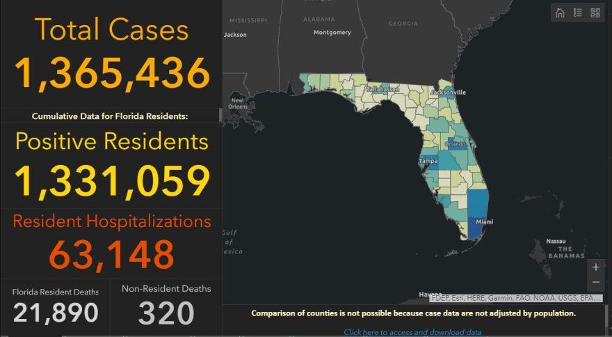 Coronavirus dashboard from the Florida Department of Health