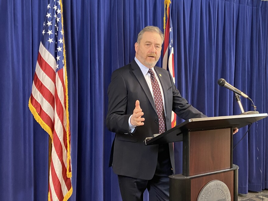 Ohio Attorney General Dave Yost, at a press conference in his office in February 2020.