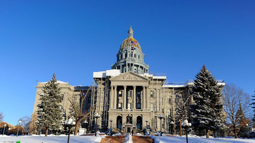 """The state Capitol in Denver in December. The Grand Junction <em>Sentinel</em> has threatened to sue state Sen. Ray Scott after the lawmaker accused the paper of spreading """"fake news."""""""