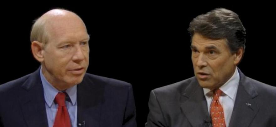 Democratic gubernatorial candidate Bill White and Texas Governor Rick Perry