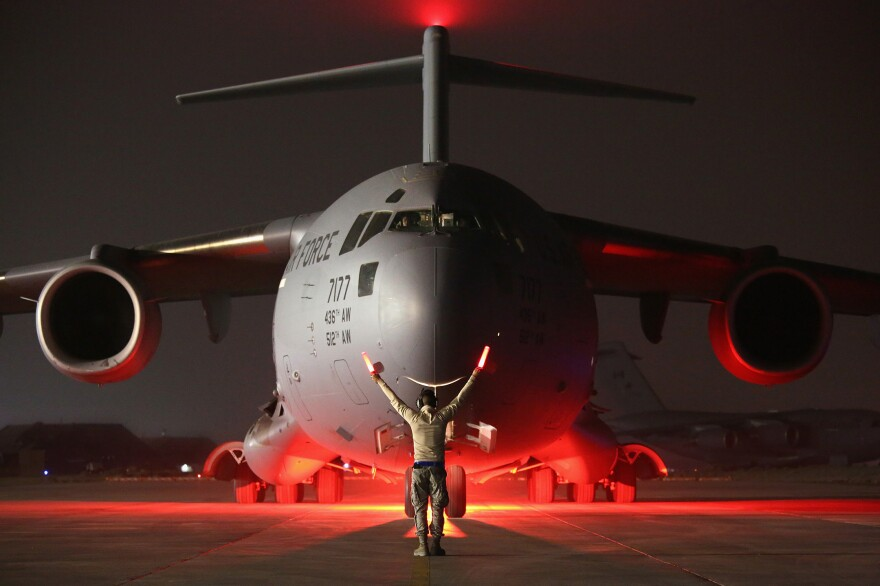 A U.S. Air Force C-17 Globemaster, like the one that made an overnight refueling stop in Scotland near a golf resort owned by President Trump.