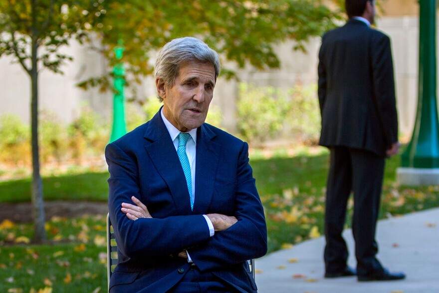 """Secretary of State John Kerry spoke at Indiana University on Thursday. """"If Russia is [in Syria] to uphold Assad, and fake it with respect to the extremists and terrorists, that's a serious problem,"""" he told NPR's Steve Inskeep."""
