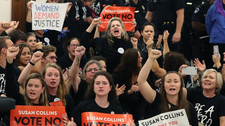 Demonstrators gather on Capitol Hill at the office of GOP Sen. Susan Collins of Maine to protest the nomination of Supreme Court nominee Judge Brett Kavanaugh.