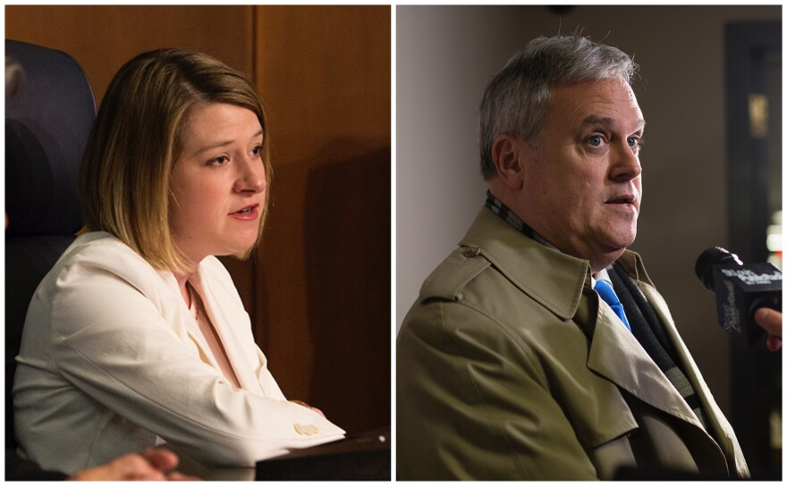 A St. Louis County Council meeting ground to a halt Tuesday, Jan. 12, 2020 after a battle between councilmembers Lisa Clancy (left), D-Maplewood, and Tim Fitch, R-St. Louis County, over who had authority to run the meeting.