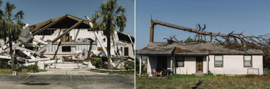 (Left) A church on U.S. Highway 98. (Right) A house on McKenzie Avenue near downtown Panama City.