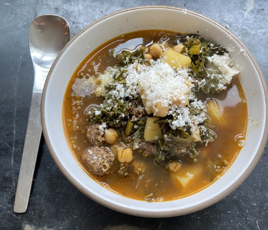 Portuguese-Style Kale, Chorizo And Chickpea Soup (Kathy Gunst)