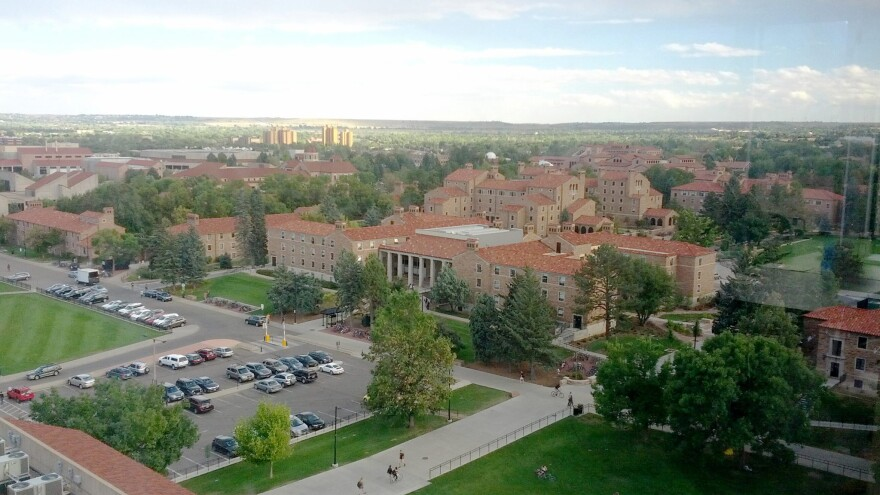 Aerial shot of the University of Colorado Boulder campus.