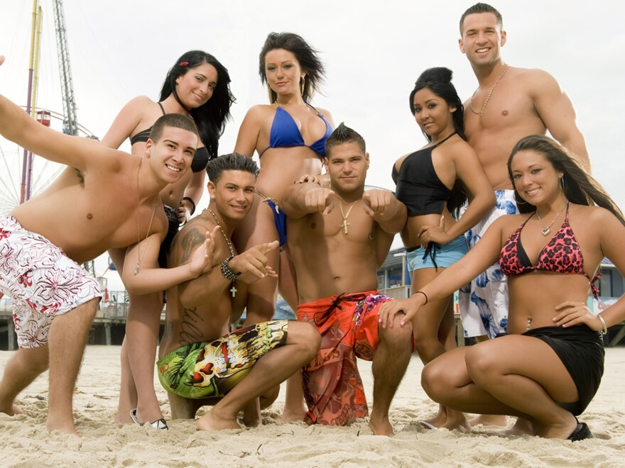 """MTV's Jersey Shore starred, from left, Vinny Guadagnino, Angelina Pivarnick, Paul """"DJ Pauly D"""" DelVecchio, Jenni """"JWOWW"""" Farley, Ronnie Magro, Nicole """"Snooki"""" Polizzi, Mike """"The Situation"""" Sorrentino and Sammi """"Sweetheart"""" Giancol"""