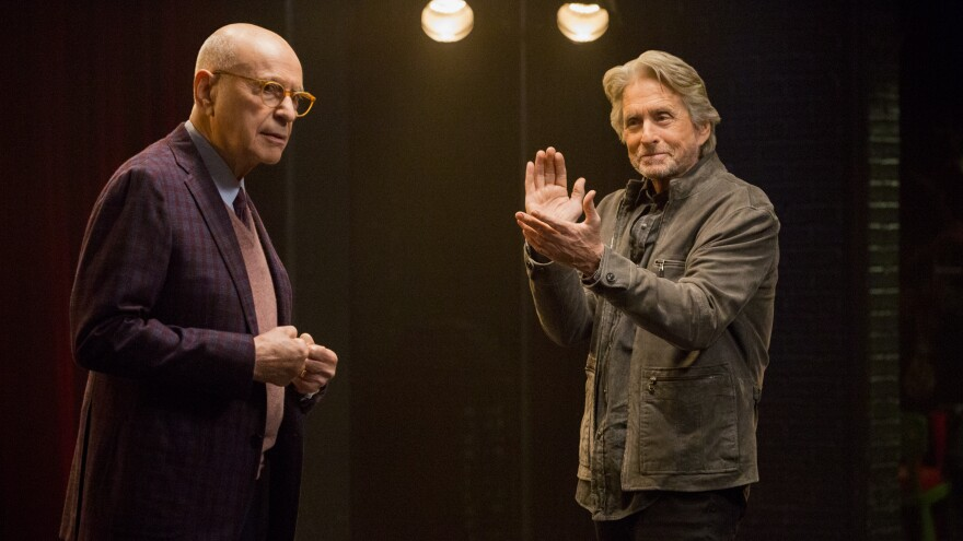 Michael Douglas (right) plays an aging actor and acting coach in <em>The Kominsky Method. </em>Alan Arkin is his longtime agent.