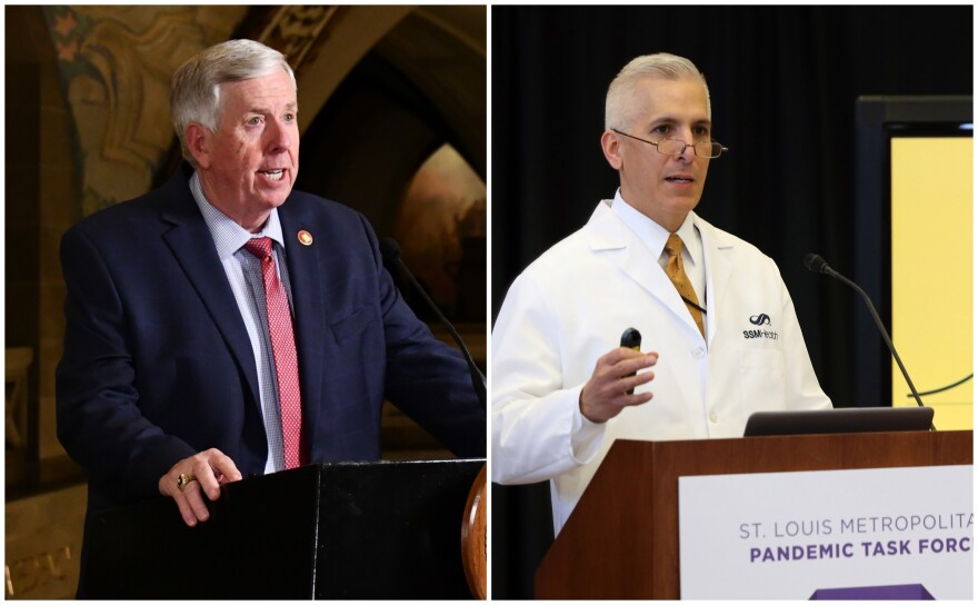 """Missouri Gov. Mike Parson (left) said Thursday, Feb. 11, 2021 that Dr. Alex Garza, head of the St. Louis Metropolitan Pandemic Task Force, was making false statements, """"cherry picking"""" data and spreading """"fear and panic"""" about the state's distribution of the COVID-19 vaccine."""