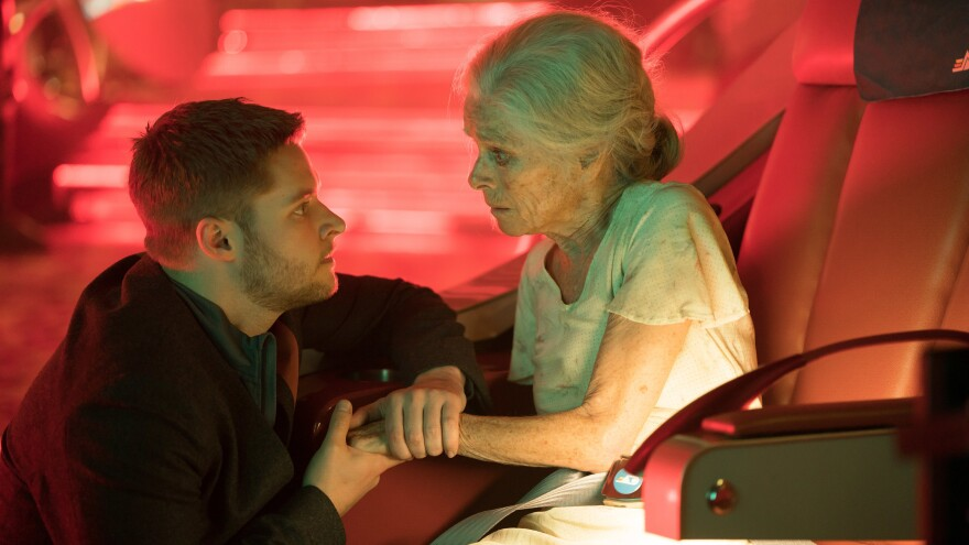 """Jack Reynor and Geraldine Chaplin star in the """"Impossible Planet"""" episode of the Amazon series <em>Electric Dreams.</em>"""
