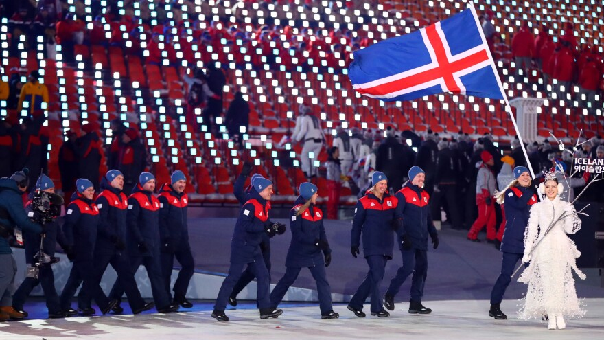 Iceland's Winter Olympics delegation has never produced a medal. The 2018 edition of the squad is seen here with their national flag at the Pyeongchang 2018 Olympic Winter Games opening ceremony.