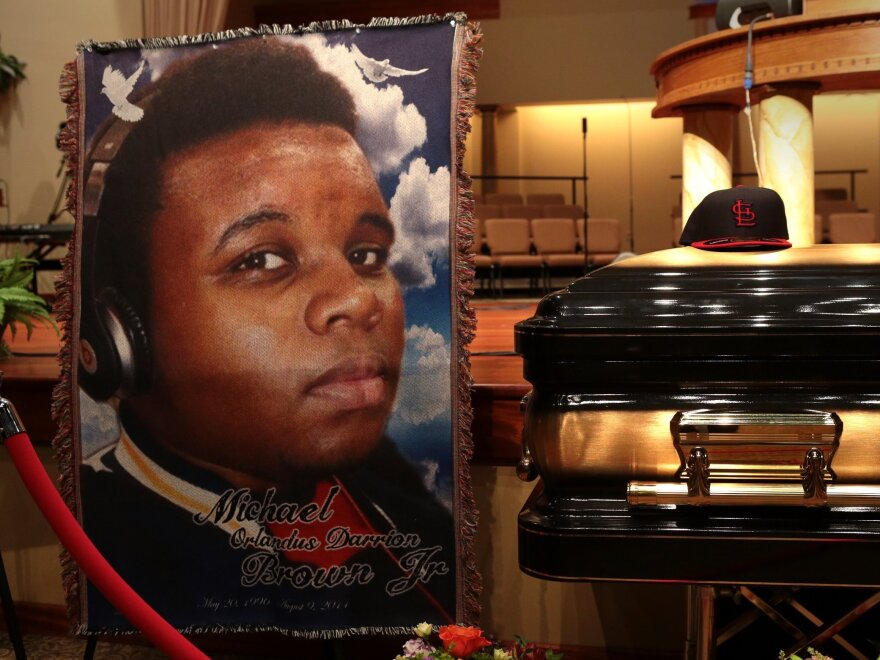 The casket of Michael Brown sits inside Friendly Temple Missionary Baptist Church in St. Louis, awaiting the start of his funeral in August.