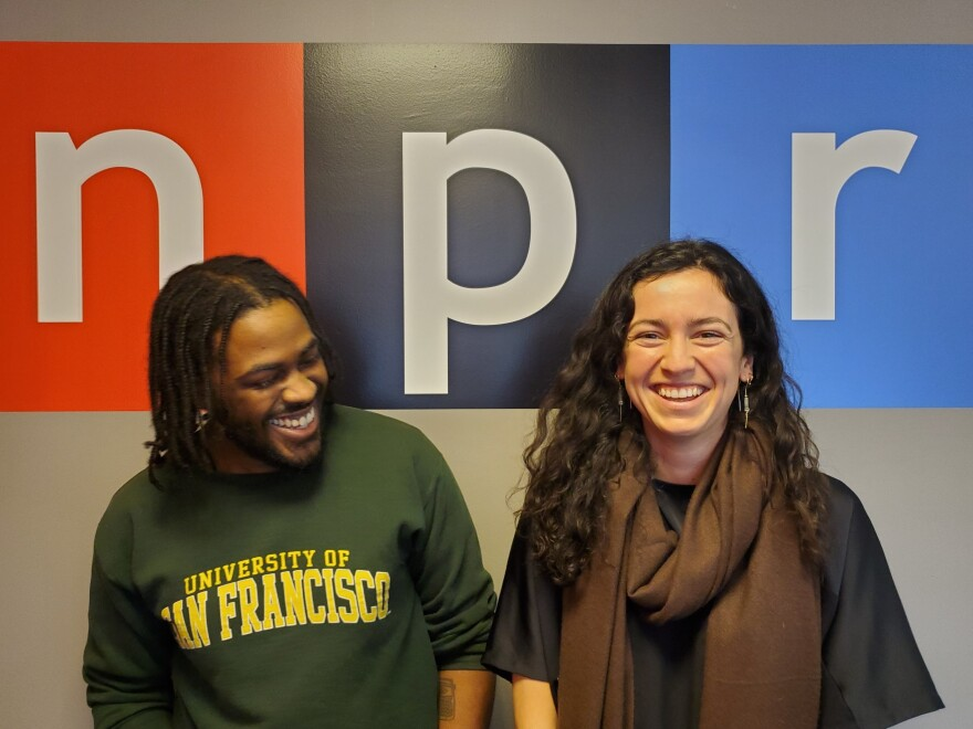 Planet Money interns James Sneed and Brittany Cronin.