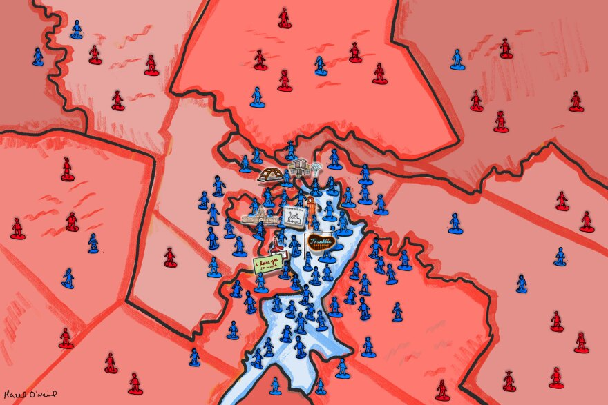 A map of congressional districts in Austin showing most are red and represented by Republicans.