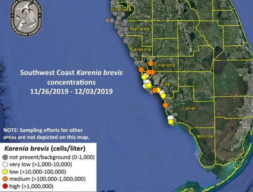 Red tide had previously been detected in Pinellas and Sarasota counties but was not detected in those areas this week. CREDIT: Florida Fish and Wildlife Conservation Commission