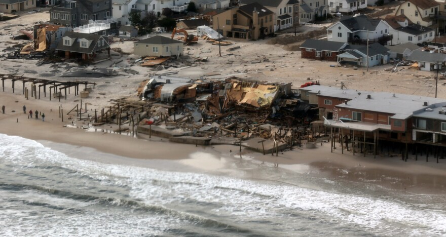 Superstorm Sandy caused massive beach erosion and damage to the Jersey shore. Some people say the beach restoration work, which will largely be paid for with federal tax dollars, will mostly help to protect expensive homes for the wealthy — people who have free access to the beach — while most communities would still be charging fees for public access.