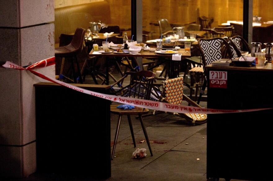 The scene of Wednesday's shooting attack in Tel Aviv, Israel.