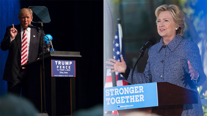 Republican presidential nominee Donald Trump and Democratic nominee Hillary Clinton speak separately in Iowa in September.