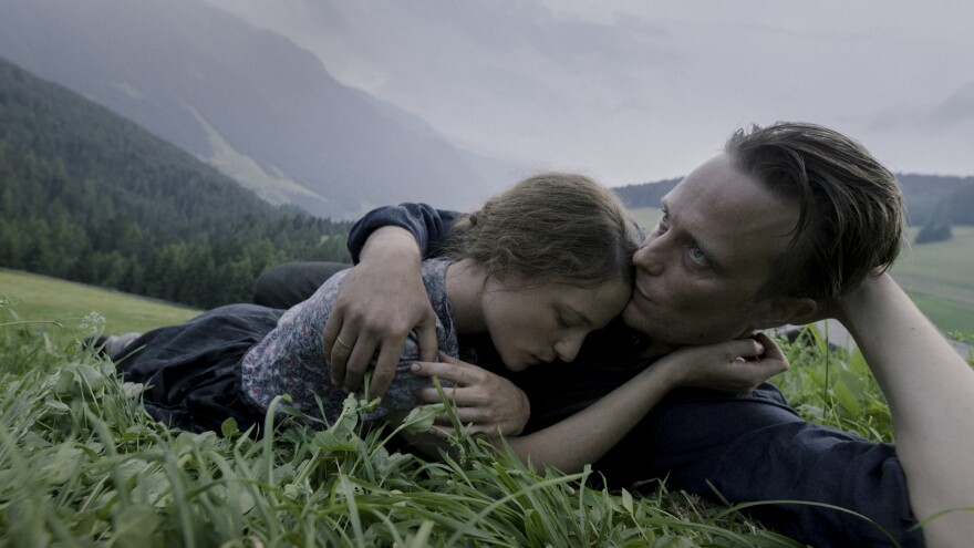 Valerie Pachner and August Diehl star as Fani and Franz Jagerstatter in the film <em>A Hidden Life</em>.