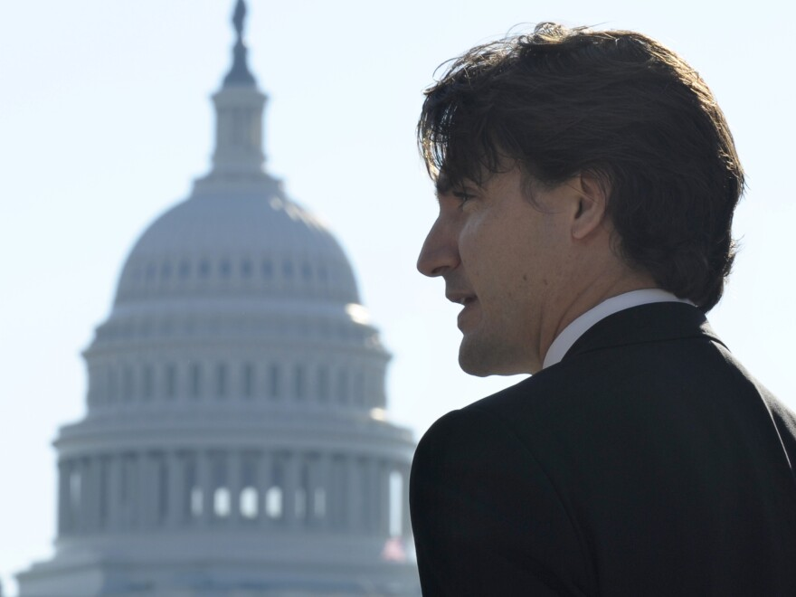 Justin Trudeau speaks to reporters in 2013 during his first official visit to Washington as leader of Canada's Liberal Party.