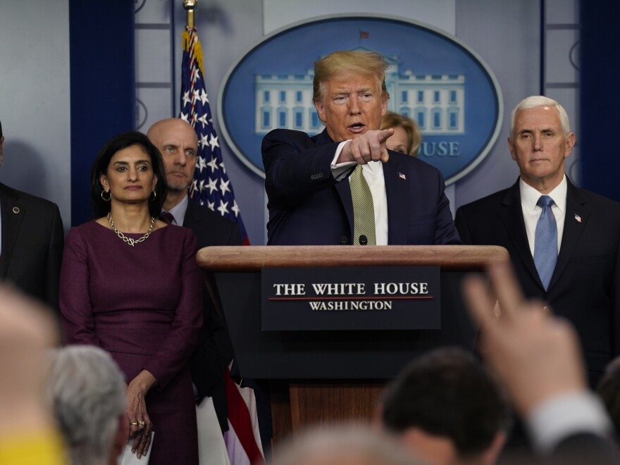 President Trump speaks Tuesday during a press briefing with the coronavirus task force at the White House.