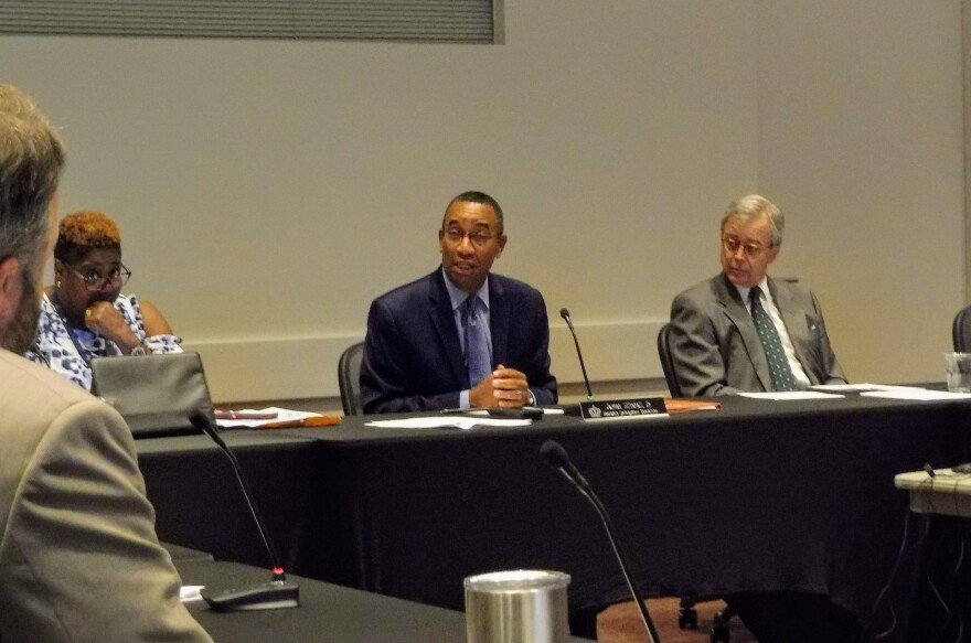 Economic Committee chair James Mitchell Jr. (center) led Monday's committee meeting, where city staff recommended an Eastland Mall developer.