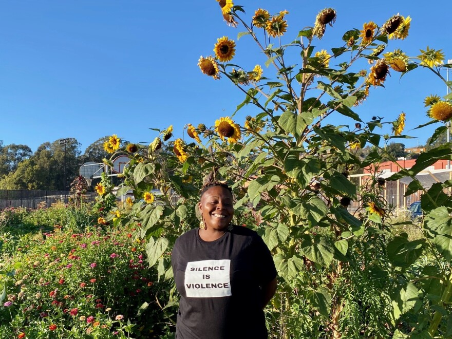 Brandi Mack, a community organizer and food security activist, at the urban farm she helped create at Castlemont High School in Oakland, Calif. She hopes the Freedge movement proves sustainable.