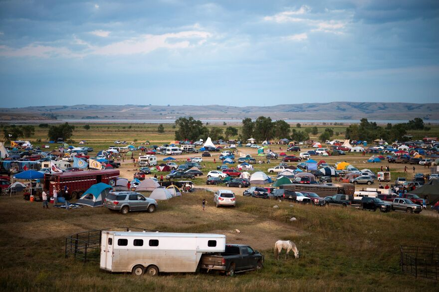 An encampment by the Missouri River where hundreds of people have gathered to join the Standing Rock Sioux Tribe's protest against the construction of the Dakota Access Pipe last week.