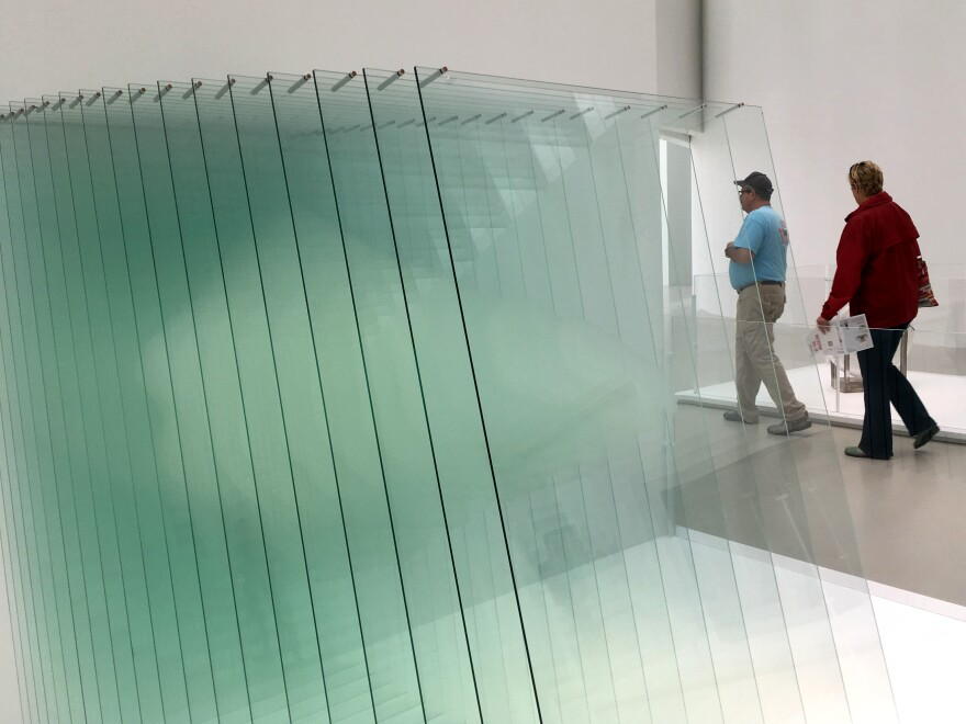 "An artwork called <a href=""https://www.cmog.org/artwork/sheer-volume"">Sheer Volume</a>, by Michael Scheiner, is displayed at the Corning Museum of Glass in Corning, N.Y."