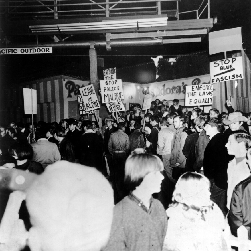 Protesters gather outside Pandora's Box on Nov. 12, 1966.