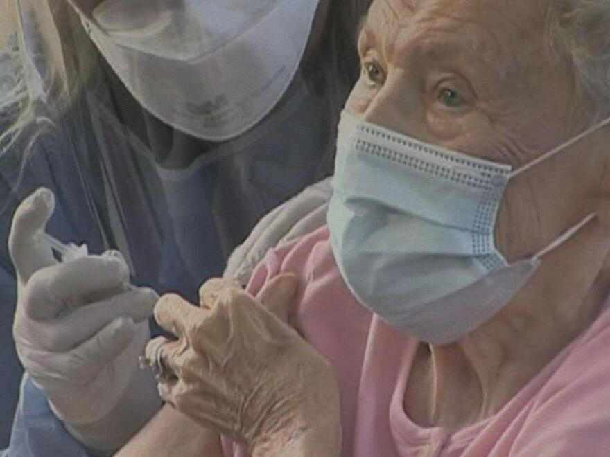 Vera Leip, an 88-year-old retired teacher, was the first resident of John Knox Village in Pompano Beach to receive the vaccine on Dec. 16, 2020.