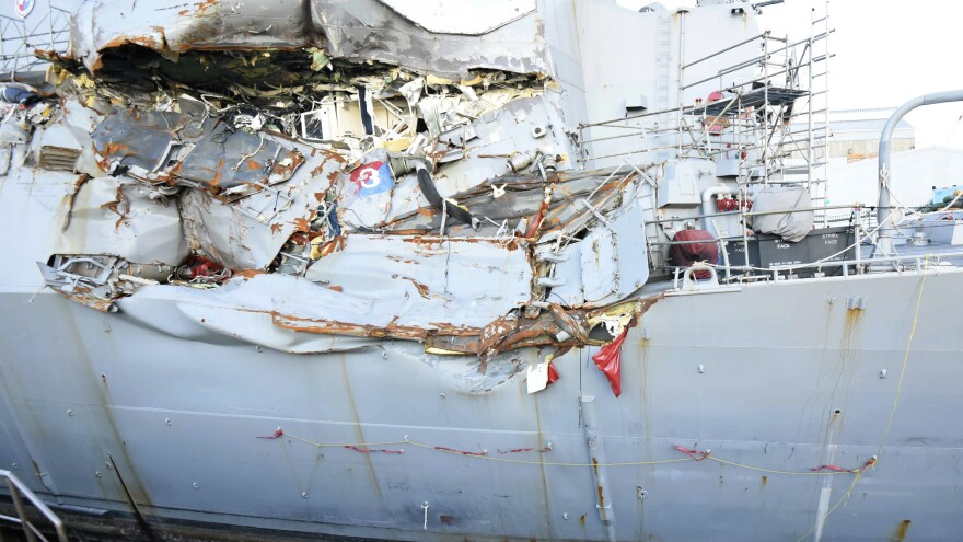 The USS Fitzgerald sits in dry dock in Yokosuka, Japan, for repairs following a June 17 collision with a cargo ship near Japan.