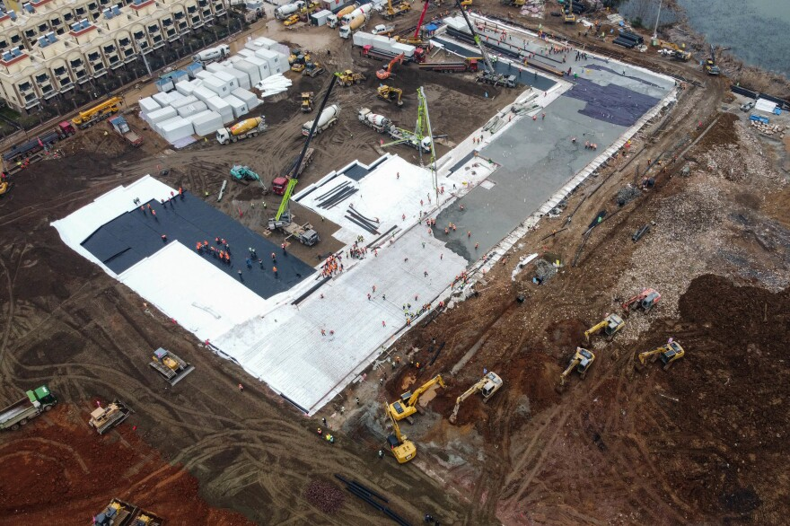 This aerial photo of the construction site was taken on Jan. 27.