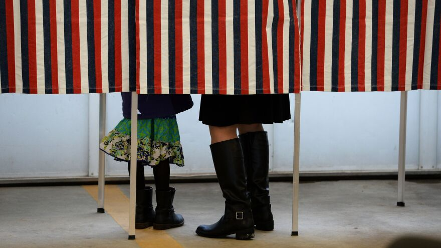 A woman is accompanied by a child inside a voting booth, as she casts her ballot in the New Hampshire presidential primary.