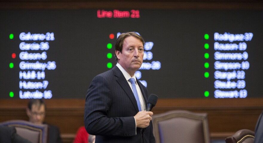 Sen. Bill Galvano, R- Bradenton, watches the vote board as it brings up each education line item the Governor vetoed to be voted on for an override during a special session of the Florida Legislature Wednesday June 7, 2017,