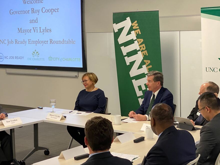 Mayor Vi Lyles and Governor Roy Cooper attend a roundtable of Charlotte business leaders at UNC Charlotte